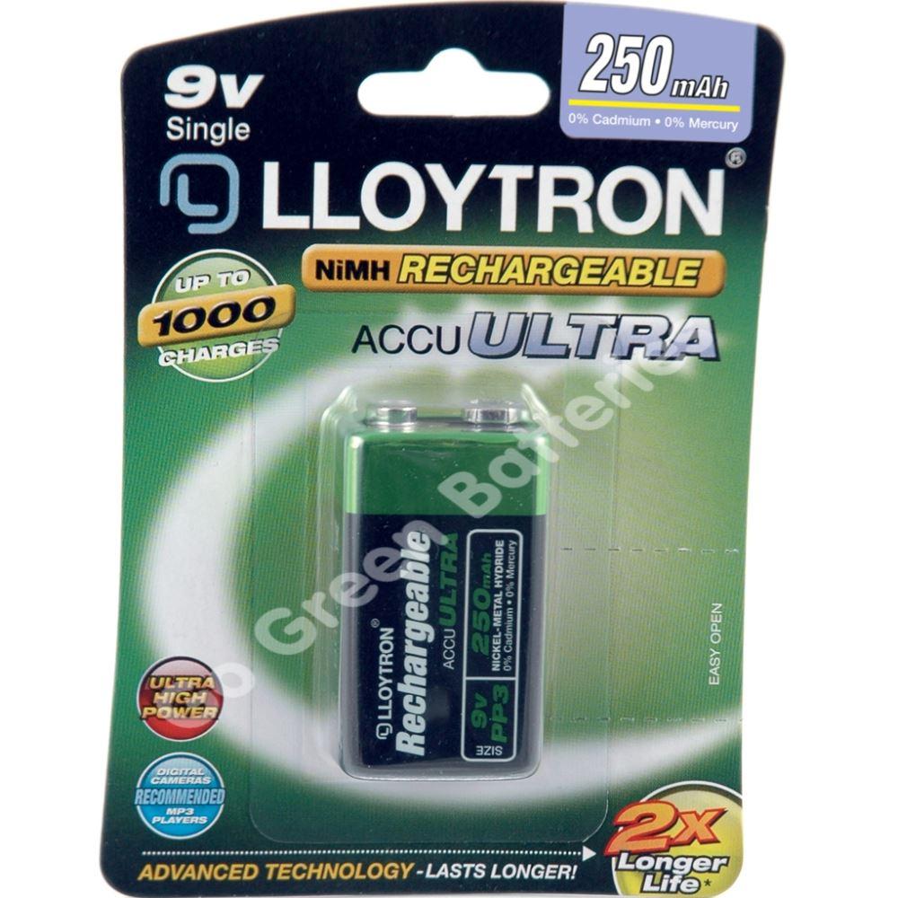 1 x lloytron 9v pp3 rechargeable battery 250 mah 6lr61 ebay. Black Bedroom Furniture Sets. Home Design Ideas