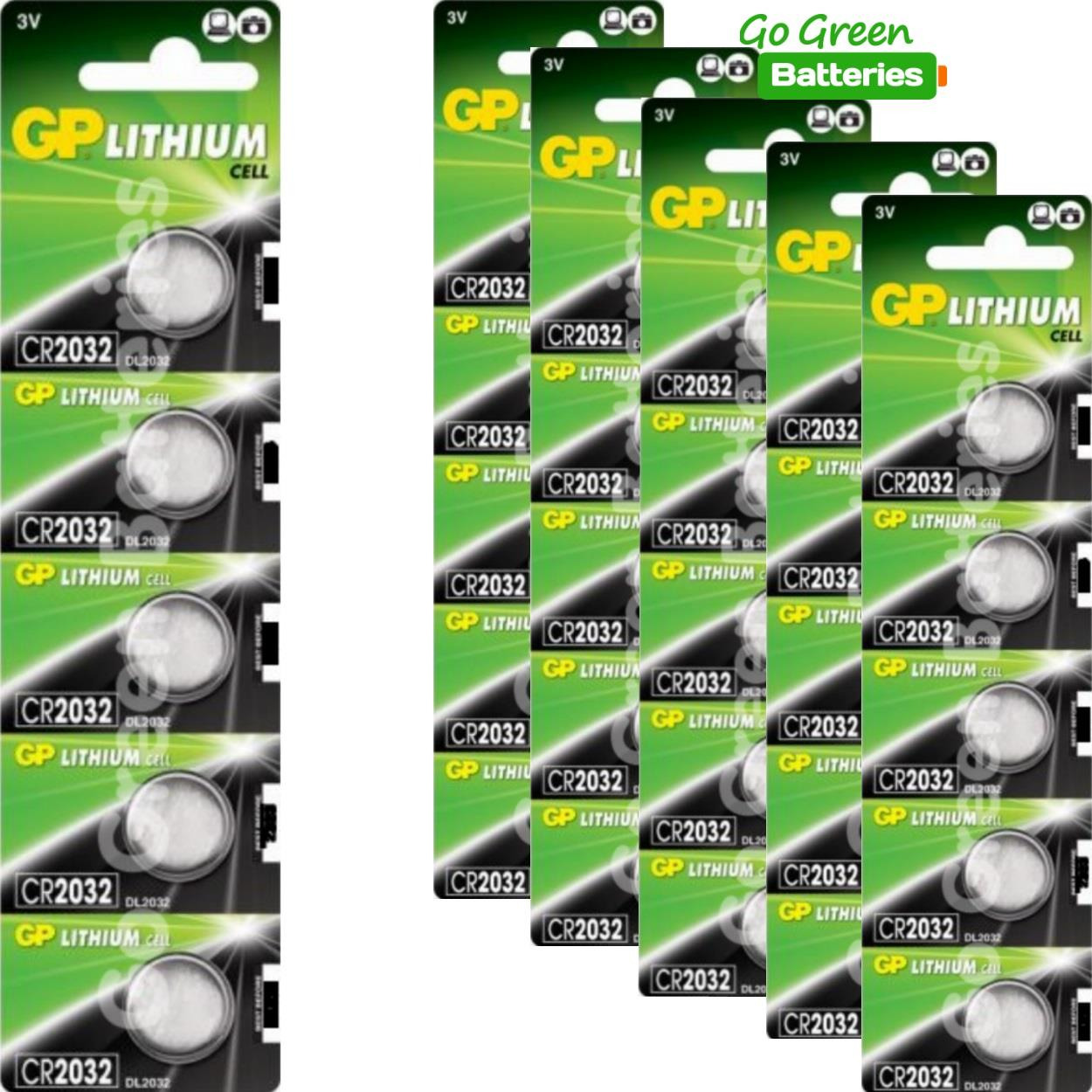 GP Batteries CR2032 CR 2032 DL2032 3V Lithium Coin Cell Battery