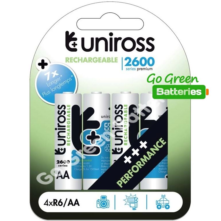 4 x Uniross AA 2600 mAh Rechargeable Batteries NiMH - HR6, LR6, DC1500, MN1500