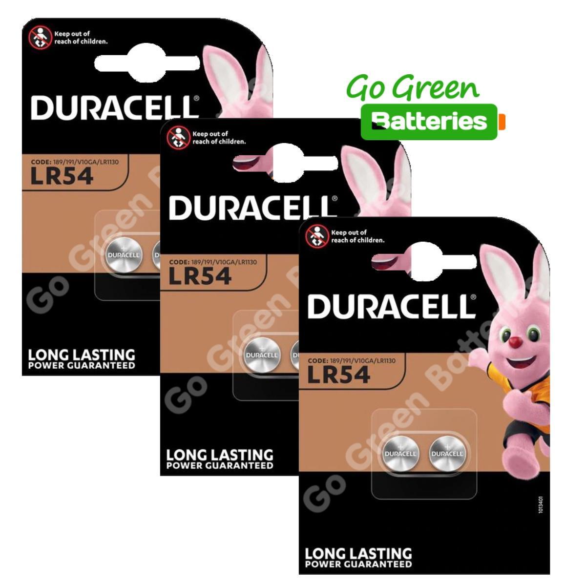 UK 6x Duracell LR54 1.5V Alkaline Battery 189 V10GA GP189 L1131 LR1130 Exp2023