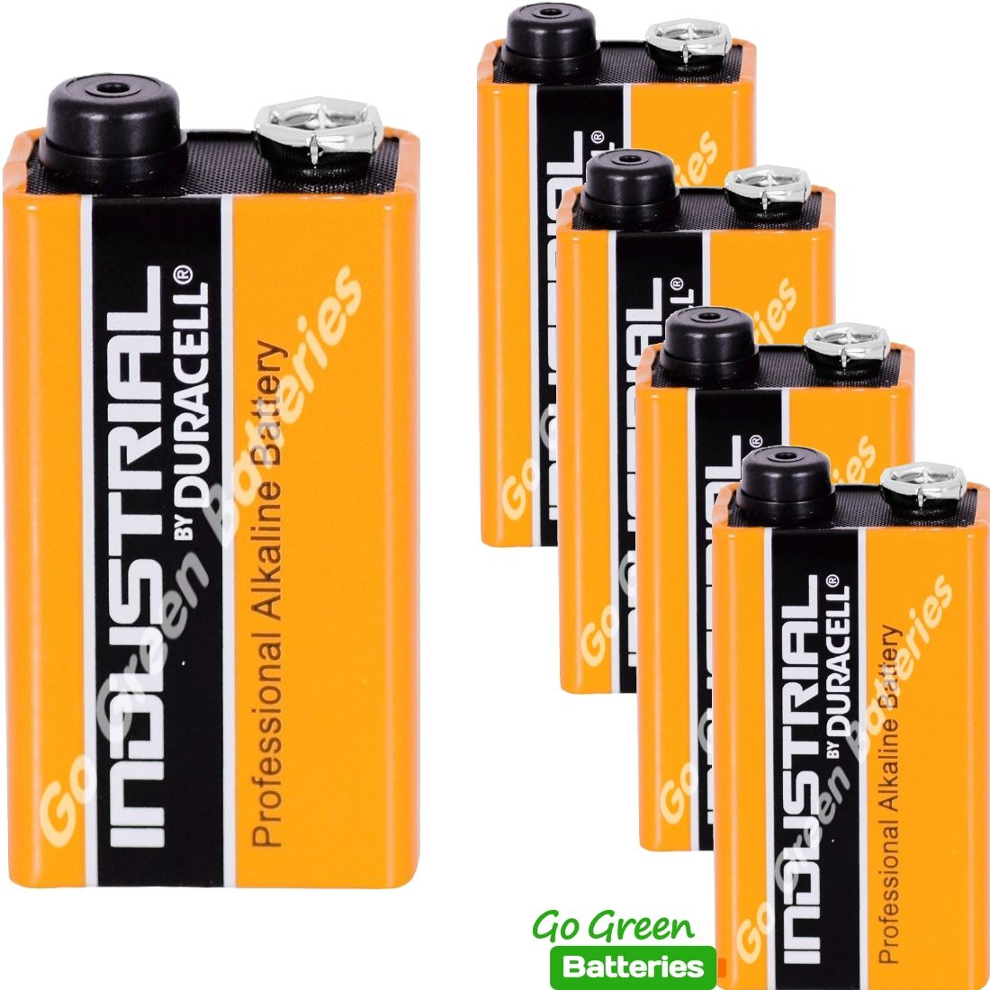 5 x Duracell 9V PP3 Industrial Procell Batteries, Smoke Alarm, LR22 BLOC MN1604