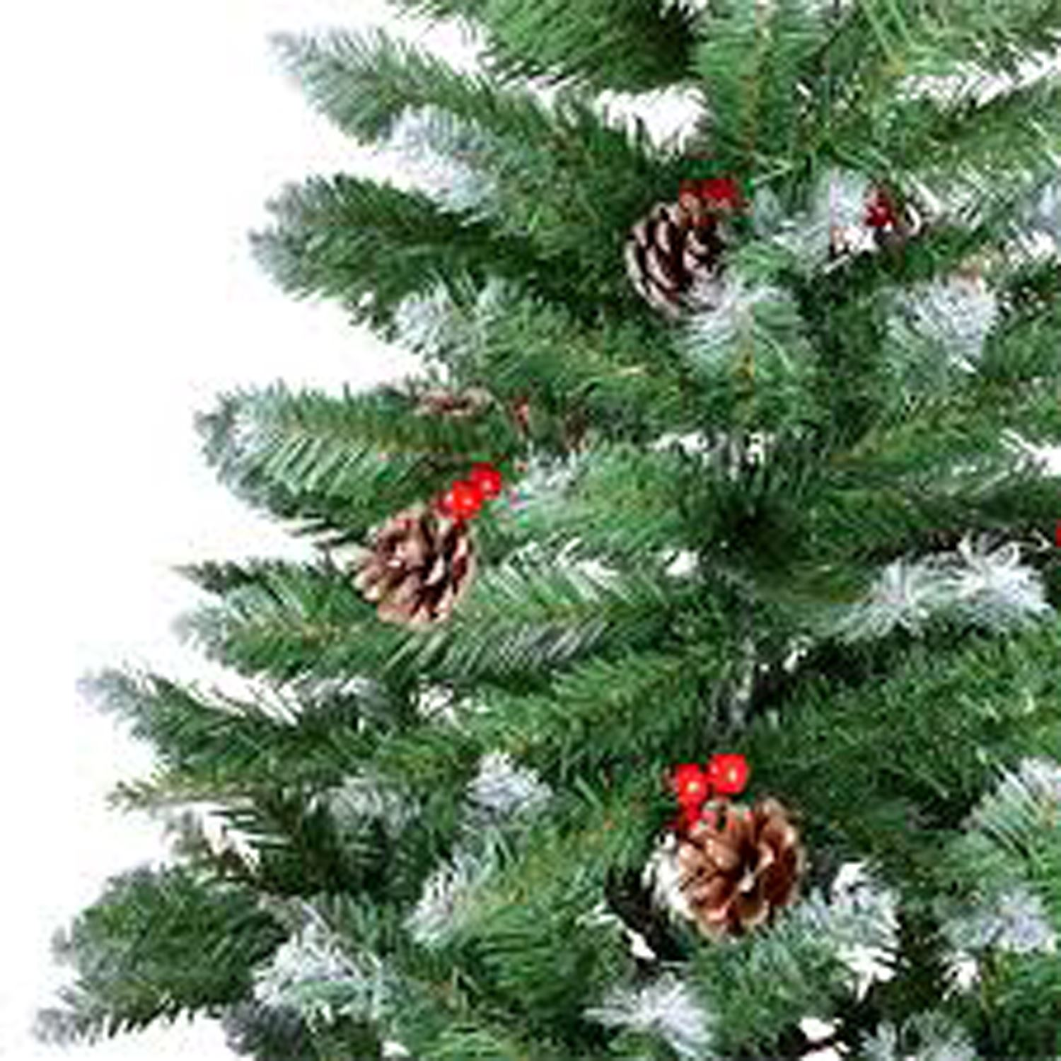 Artificial Christmas Tree With Pine Cones: KRAFTZ® 1.8m (6ft) Artificial Frosted Xmas Tree With Pine