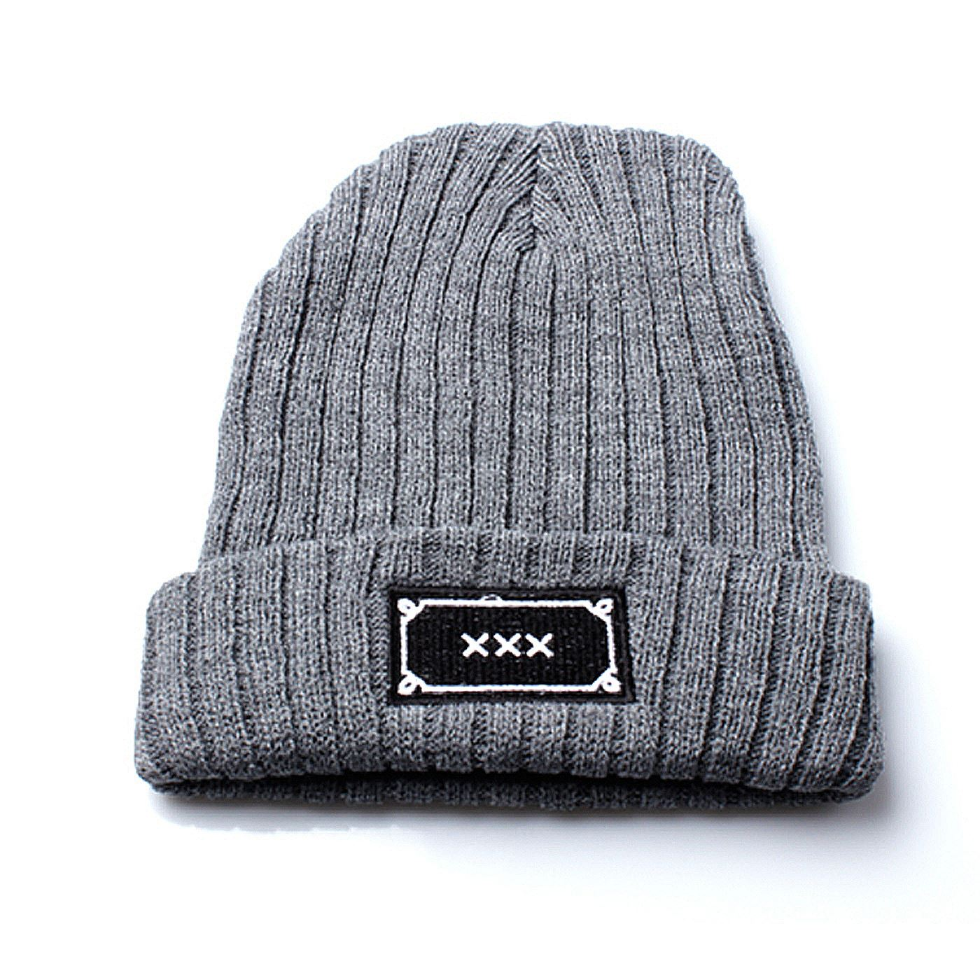 Details about Unisex Grey Ribbed Beanie Hat with White Embroidered XXX  Design 614da50168a8