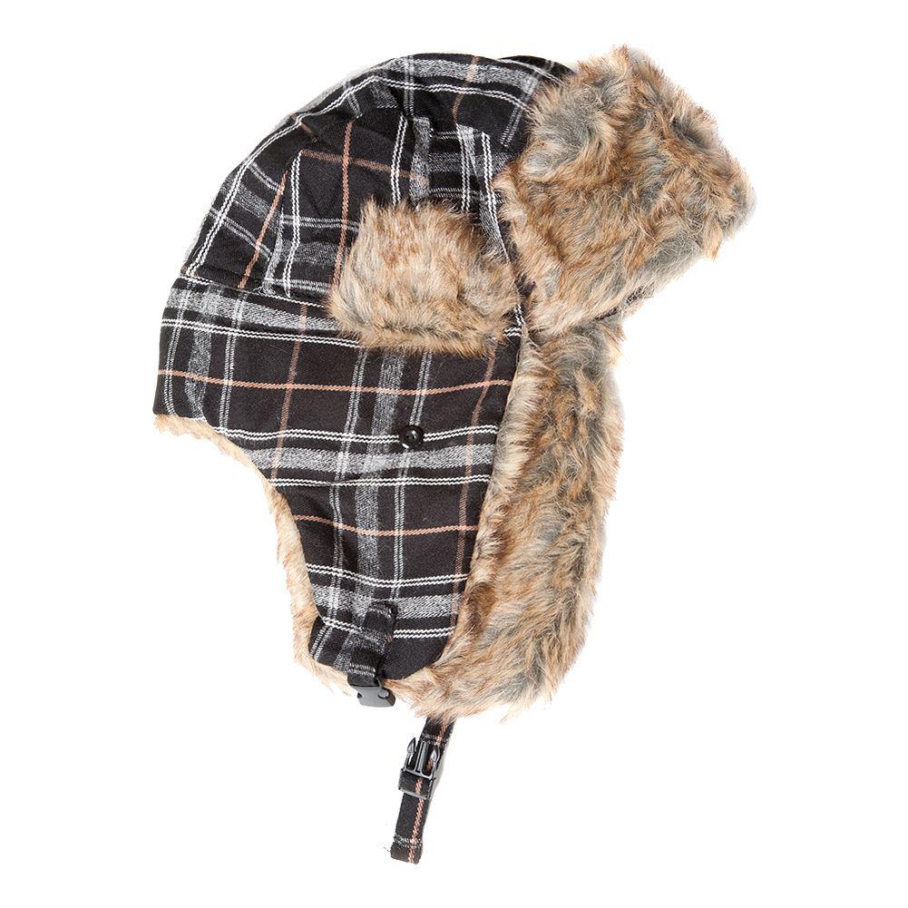 5b28c6018123f Unisex 58cm Black Tartan Trapper Hat 5055419391640