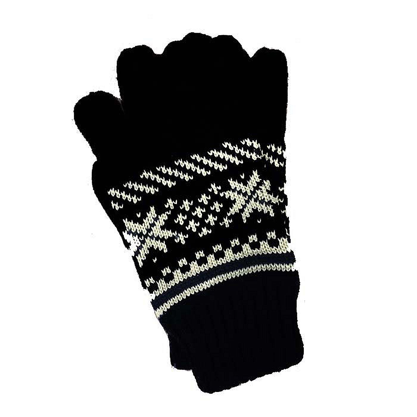 Unisex Black with White Fair-Isle Pattern Gloves