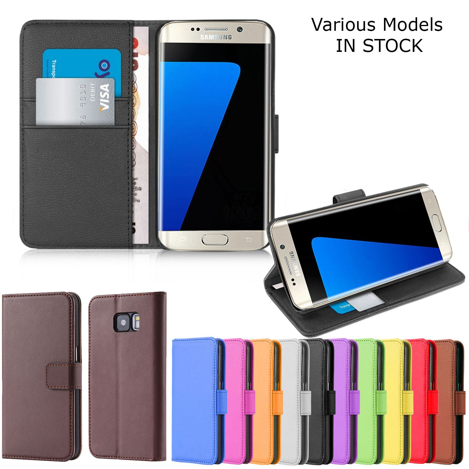 online retailer a5a77 1100f Details about Leather Book Wallet Magnetic Flip Phone Case Cover for  Samsung Galaxy S8 & More