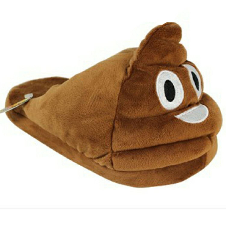 Emoji-Poop-Poo-Chaussons-Garcons-Filles-Femmes-Marron-Nouveaute-Cadeau-de-Noel