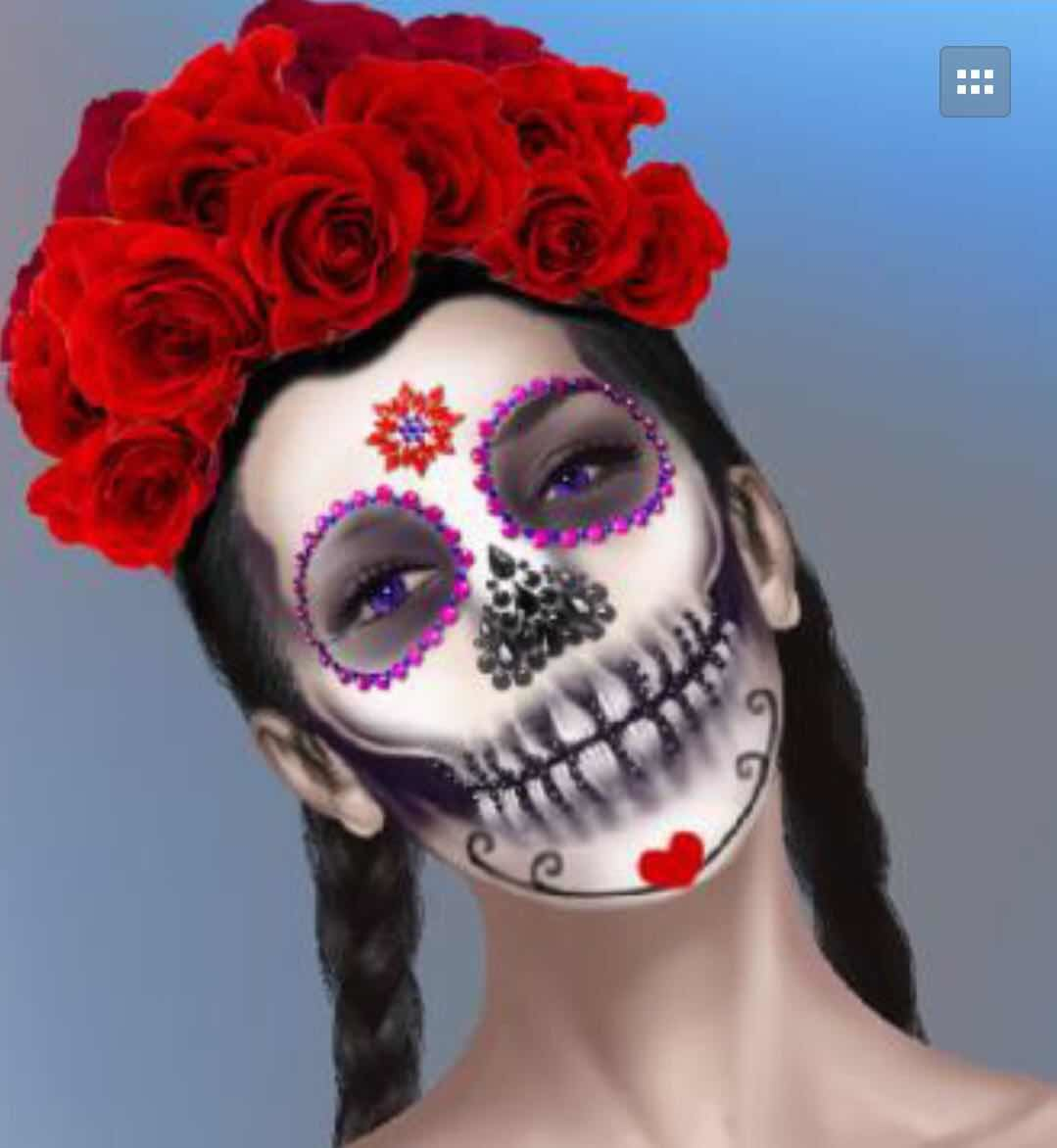 406bbd39a Halloween Gem Jewel Temporary Tattoos Face Art Day of the Dead Sugar ...