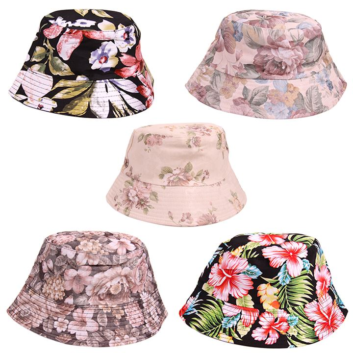 7041d9104bd U106 LADIES WOMENS FLORAL DESIGN FESTIVAL SUN BEACH HOLIDAY WEAR BUCKET HAT  NEW