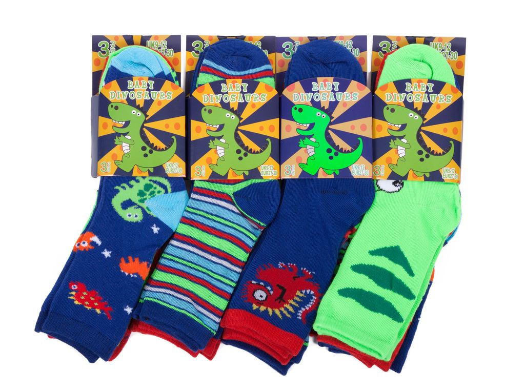 Boys Dinosaurs Socks Kids Design Pattern Stripe School Socks 12 Pairs Cotton Sox
