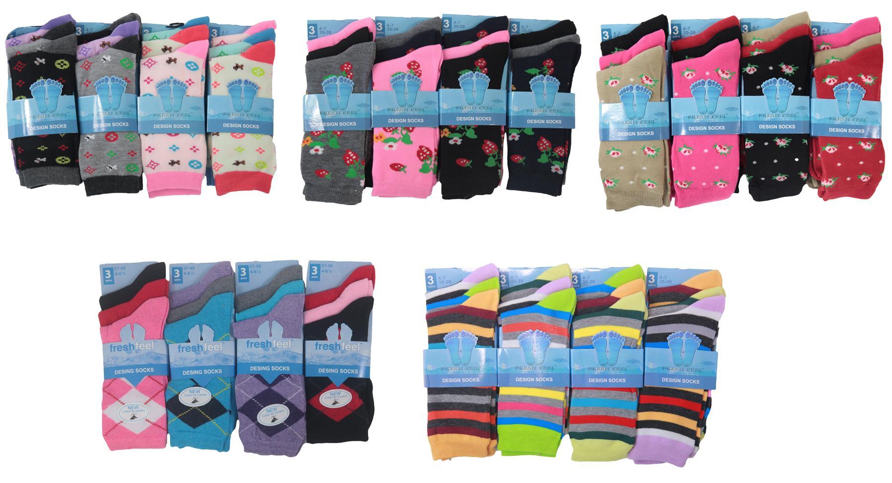 f95f0ffd92a3d Ladies Design Socks Novelty Fun Designer Pattern Cotton Blend Womens Socks  Gift
