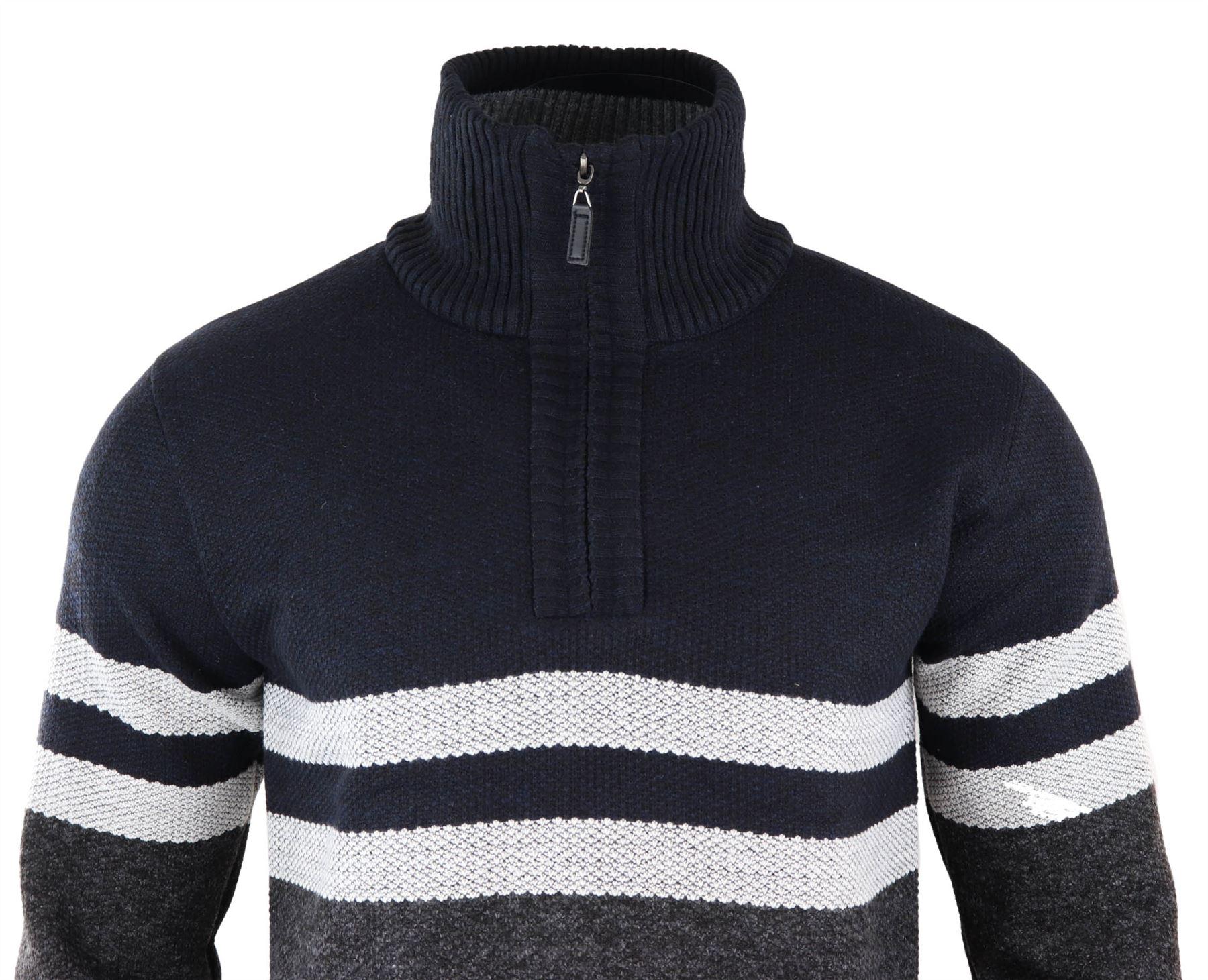 Mens Zip Polar High Neck Stripe Jumper Cardigan Fleece Lined Warm Knitted