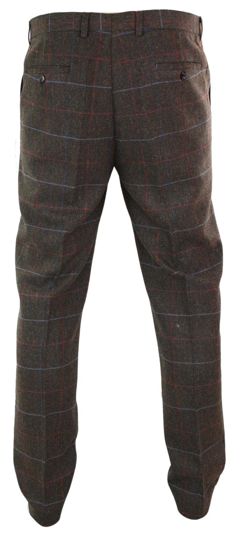 Mens-Herringbone-Tweed-Check-Peaky-Blinders-Trousers-Wool-Vintage-Classic-Retro thumbnail 21