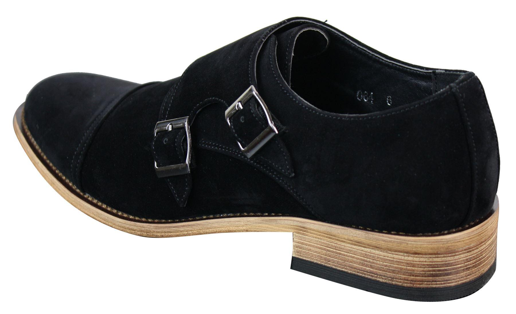 chaussures homme simili daim rabat double boucle style. Black Bedroom Furniture Sets. Home Design Ideas