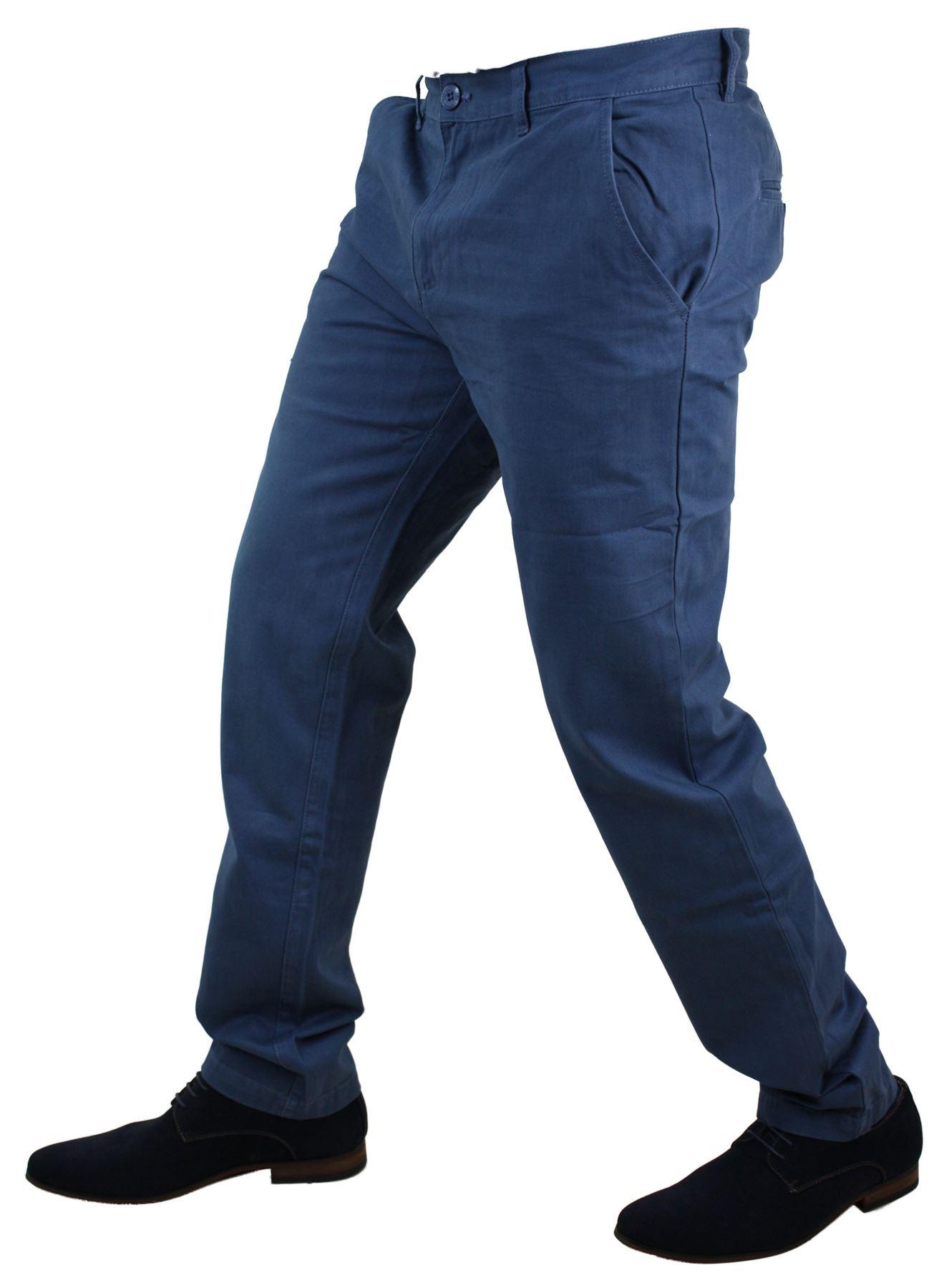 b766b48c627a7 Pantalon homme chino coton coupe droite longueur standard bleu gris ...