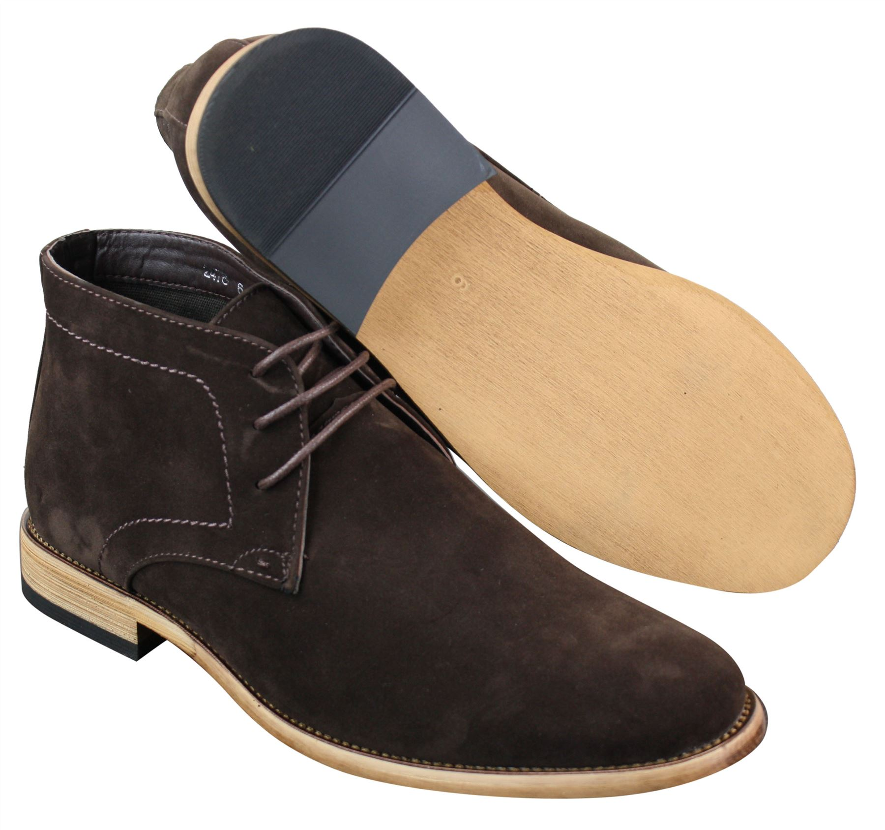 Mens Suede Lace Ankle Chukka Boots Chelsea Dealer Shoes Navy Blue ... c095fb4218fa