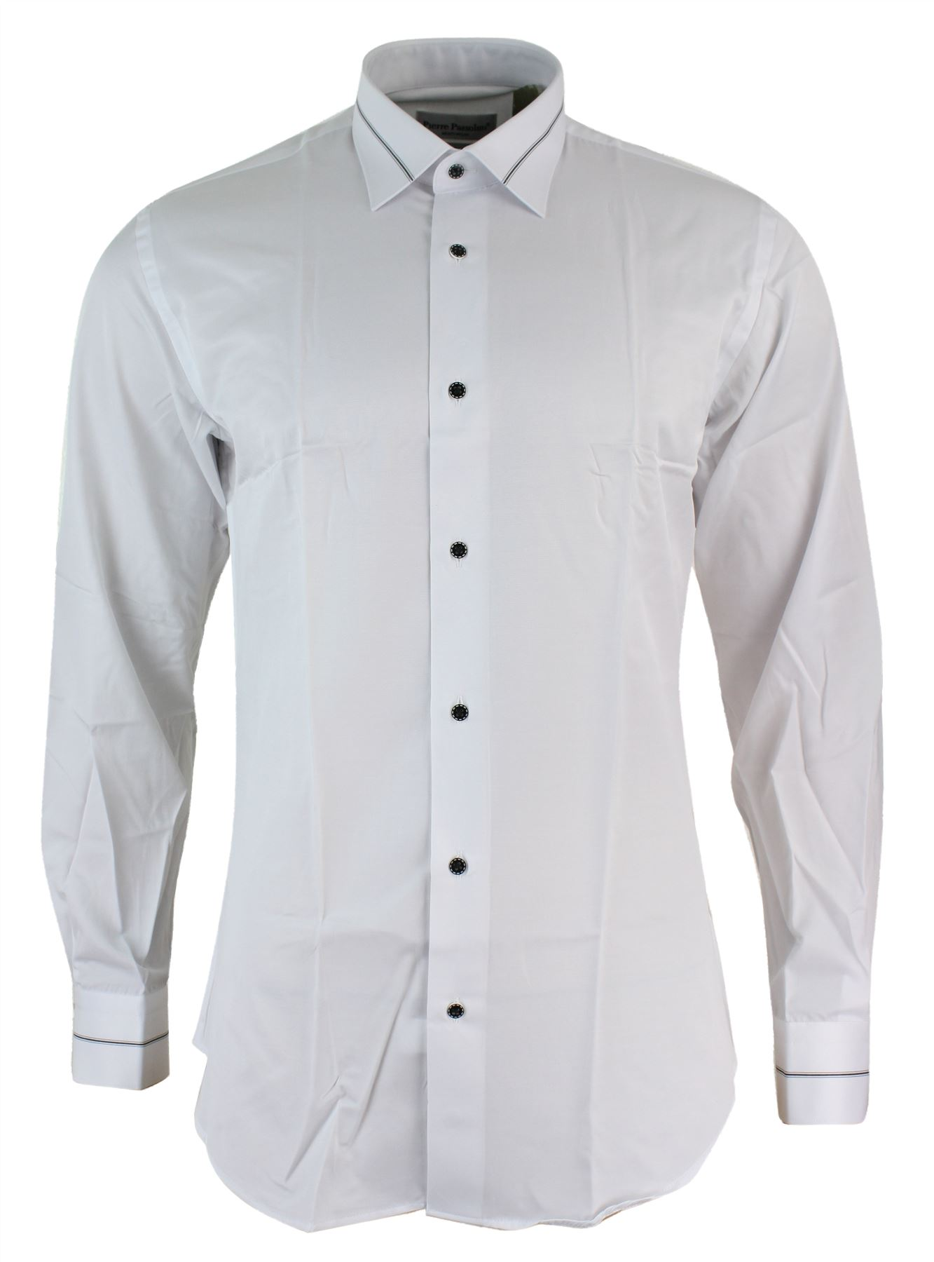 Mens slim fit white black fitted cotton button dress shirt for Mens slim fit formal shirts uk