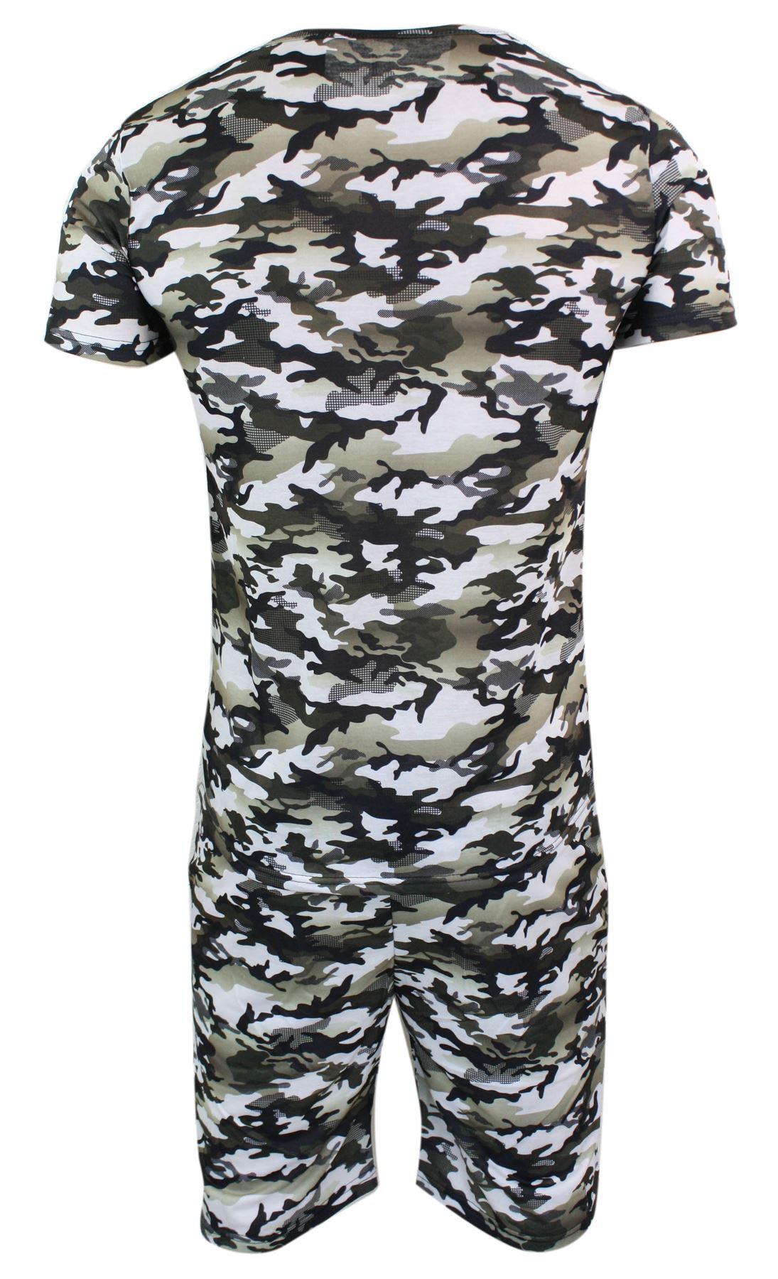 Détails sur Ensemble short T shirt ajusté camouflage militaire armée look été homme