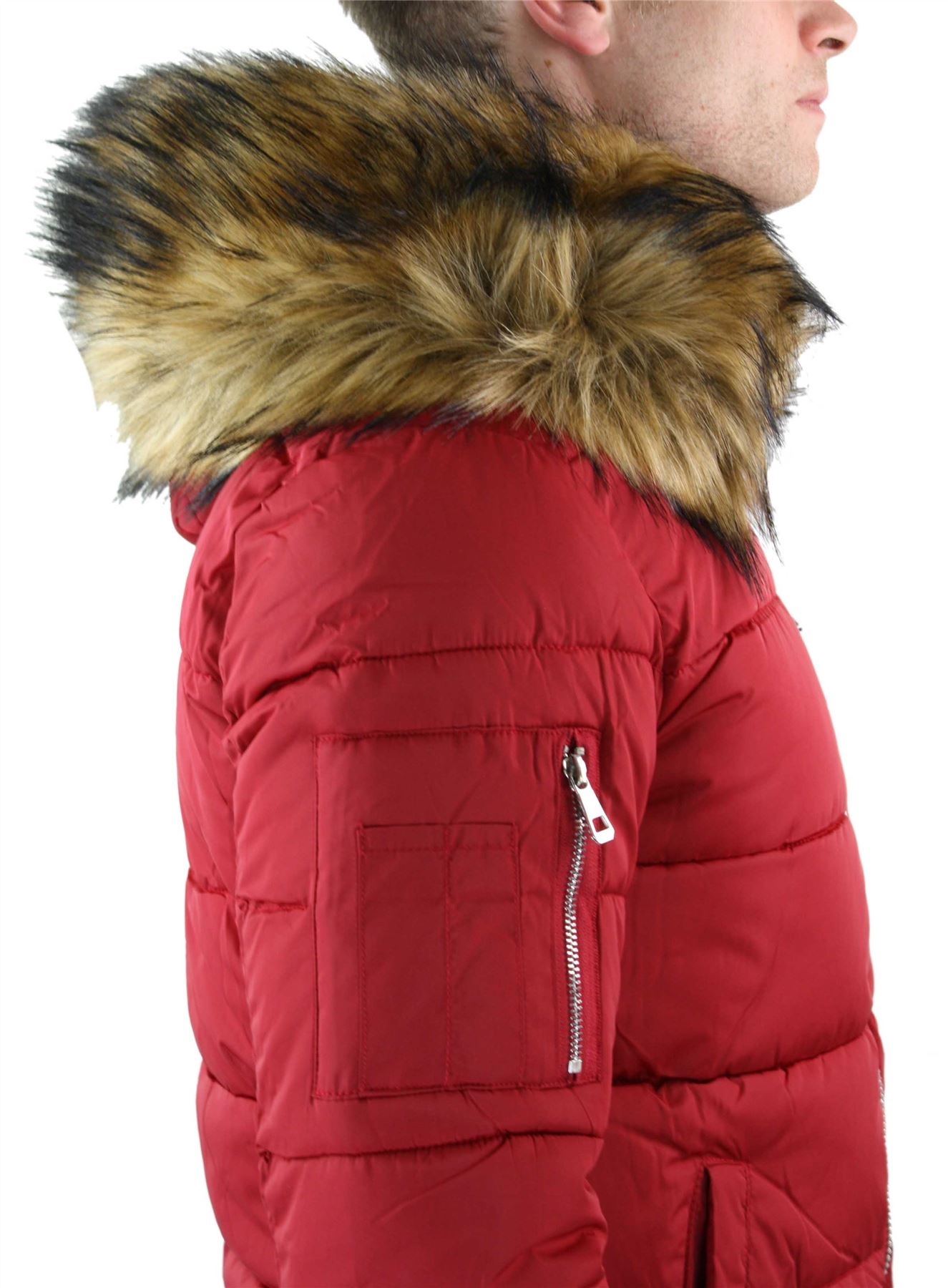 Mens Zip Removable Hood Fur Puffer Quilted Jacket Warm Winter