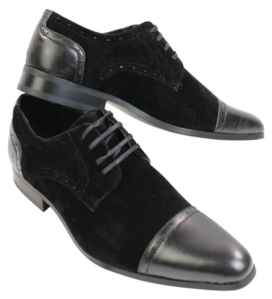 mens italian black brown grey suede amp leather laced heel