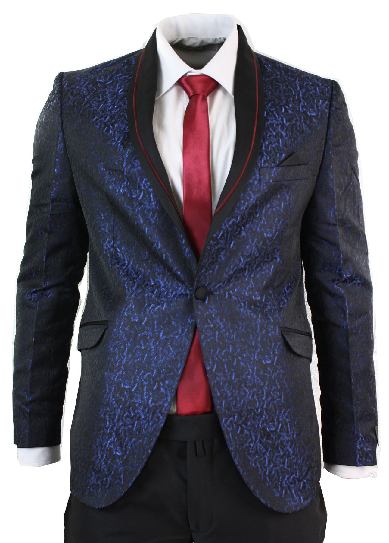 c1a3acdce86c7 Mens Shiny Paisley Tuxedo Dinner Suit Wine Purple Black Blazer ...