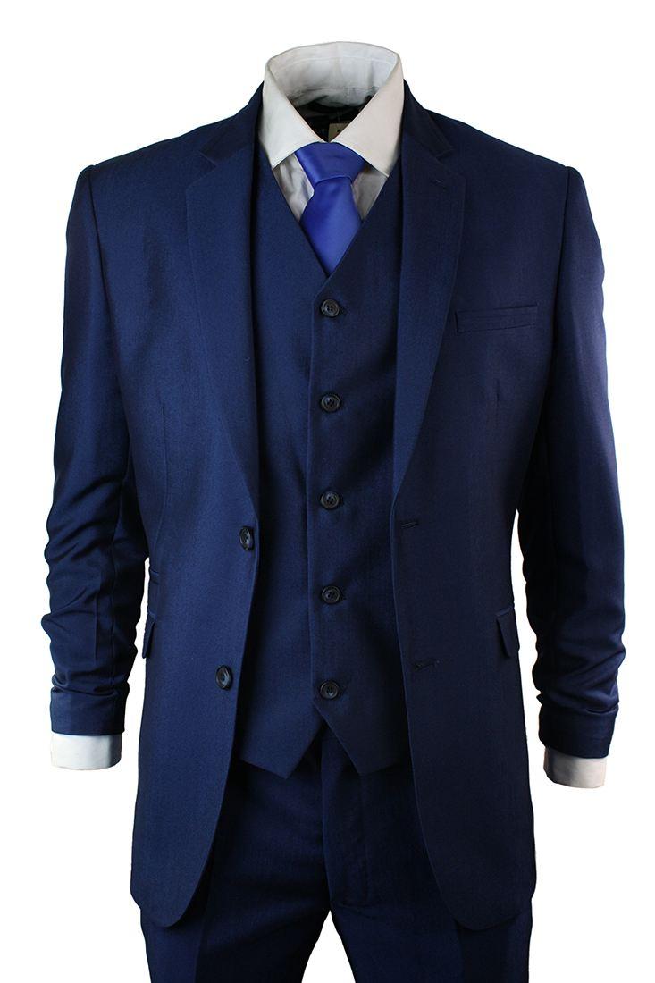 Mens Tonic Royal Blue 3 Piece Suit Short Regular Long Formal ...
