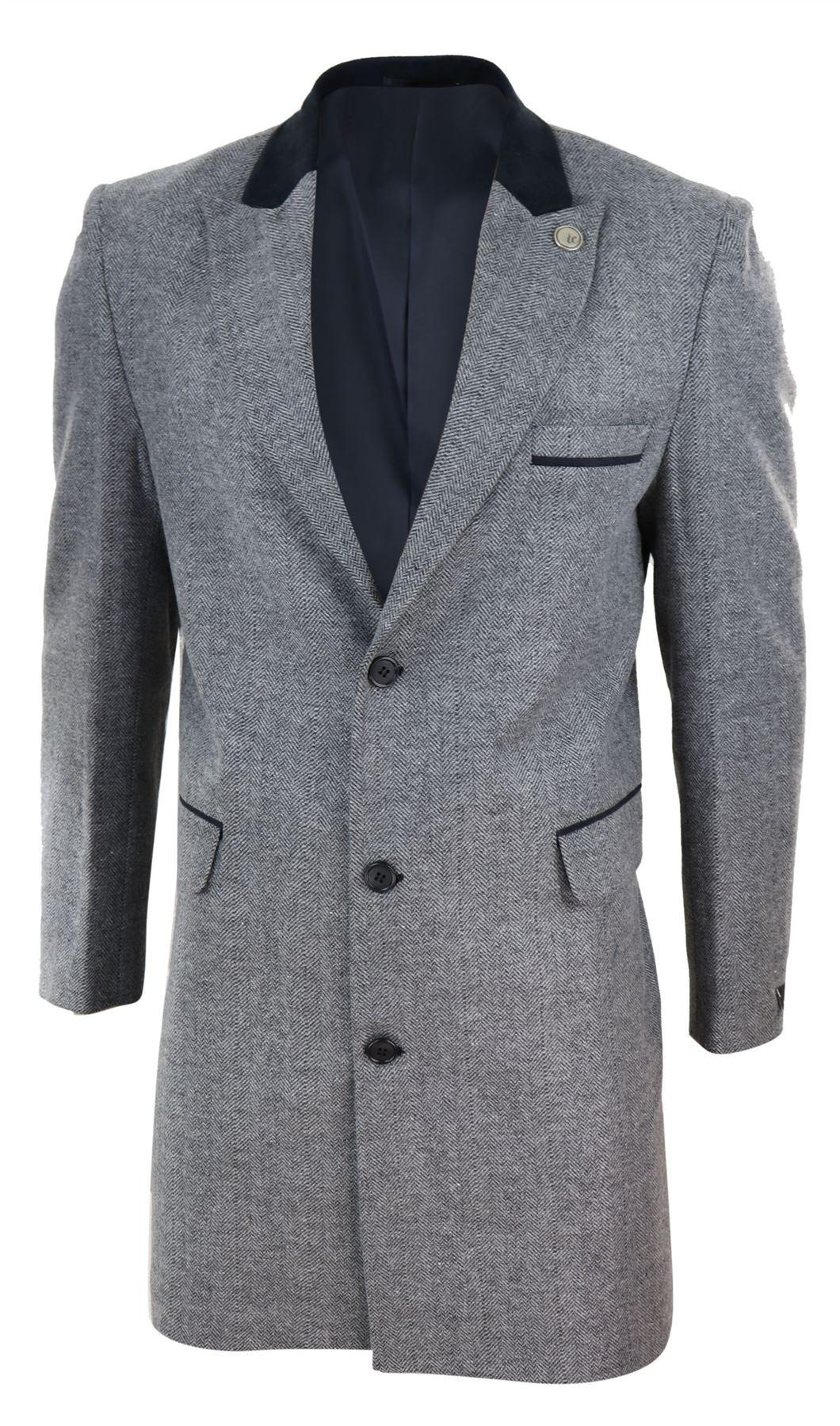 TruClothing.com Mens 3//4 Long Crombie Overcoat Jacket Wool Feel Coat Peaky Blinders Slim Fit