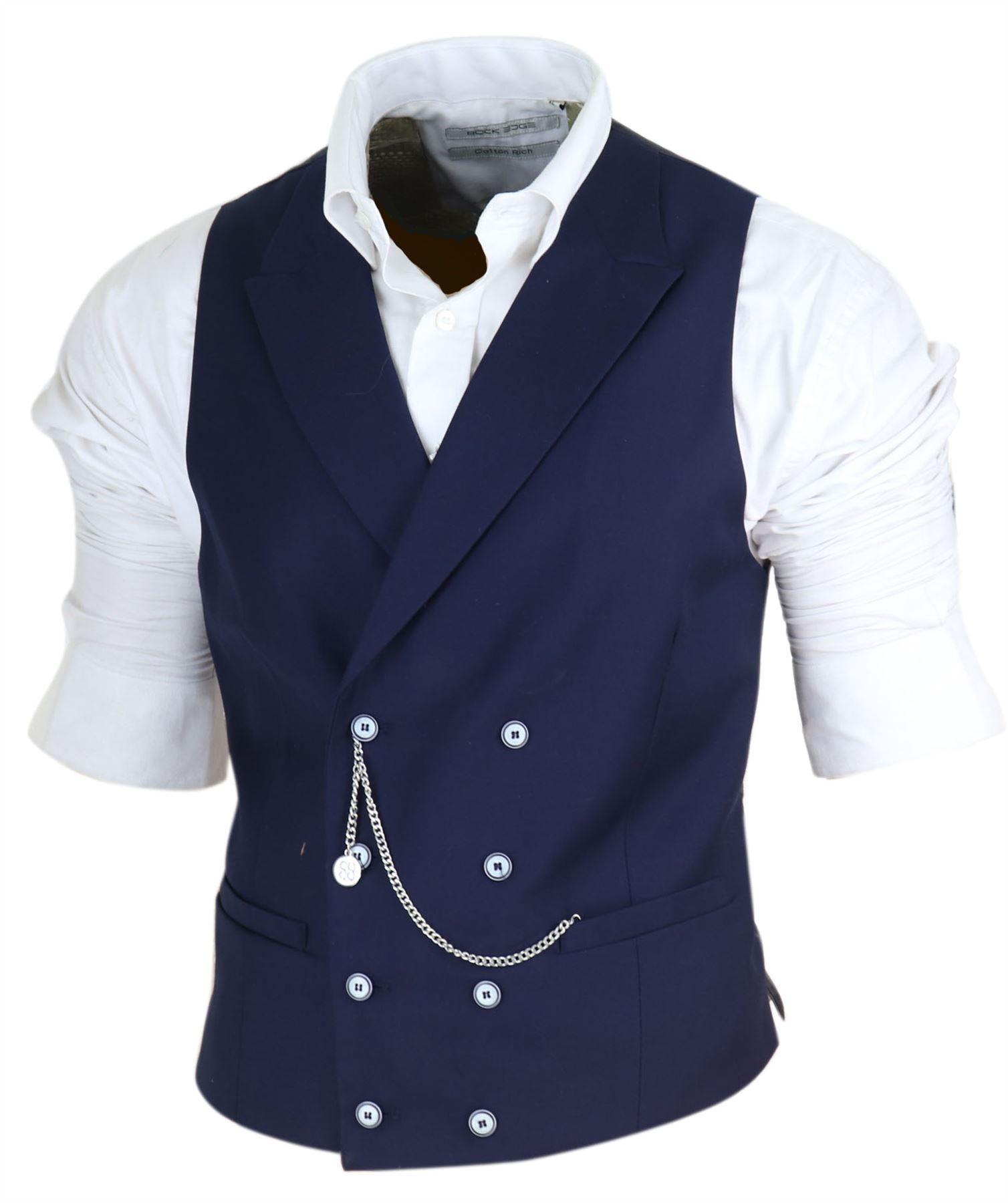 House Of Cavani Mens Double Breasted Waistcoat 1920s Peaky Blinders Smart Casual Pocket Chain
