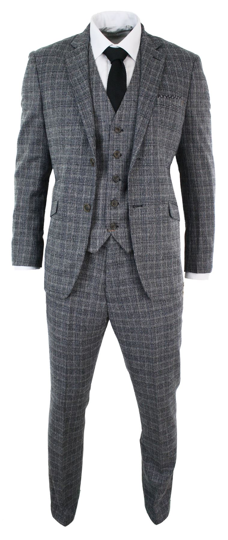 Mens Check Grey Black Vintage Retro Wedding Party Prom Suit 3 Piece ...