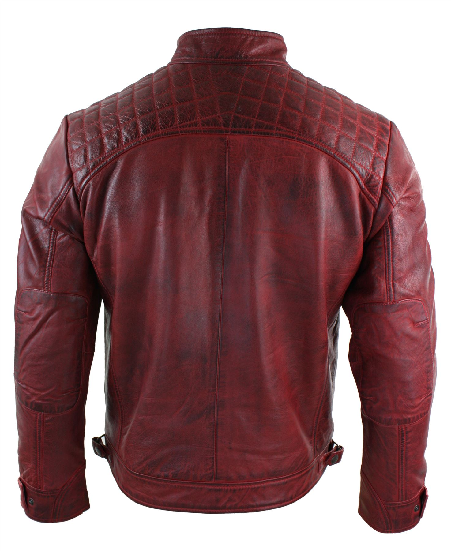 Mens-Retro-Style-Zipped-Biker-Jacket-Real-Leather-Soft-Black-Casual