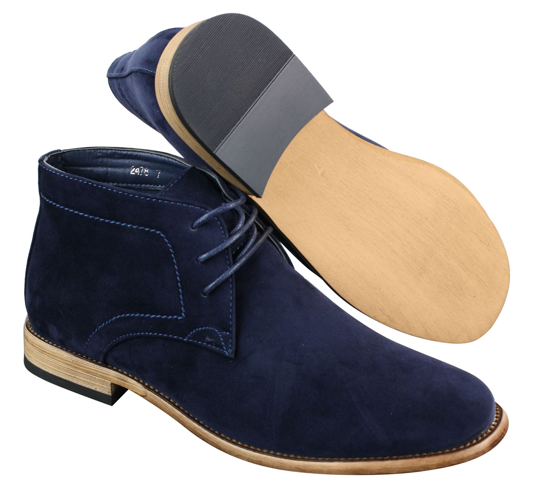 ce2fe84d4ec Mens Suede Lace Ankle Chukka Boots Chelsea Dealer Shoes Navy Blue ...