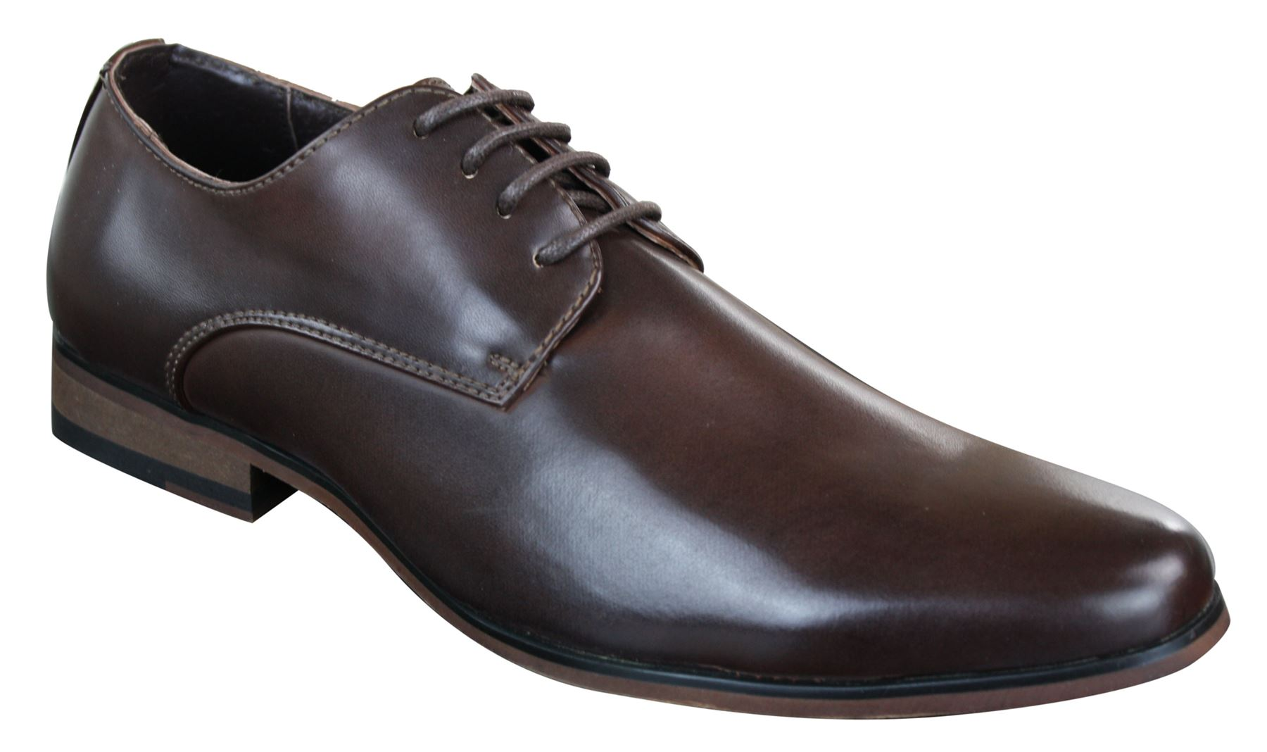 Scarpe Classiche da Uomo in Finta Pelle Marrone Stile Vintage con Lacci add806c6016