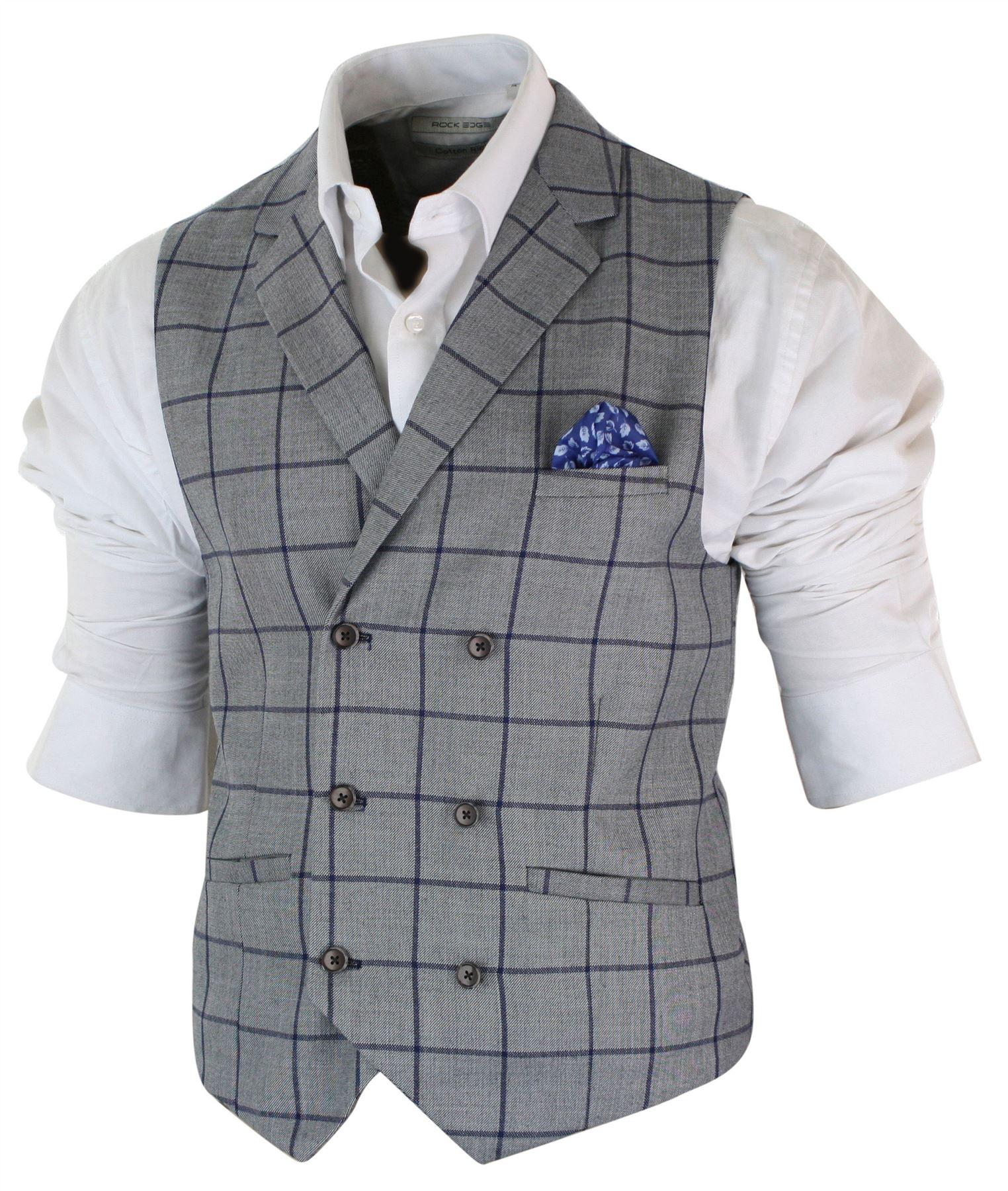 Mens-Double-Breasted-Herringbone-Tweed-Peaky-Blinders-Vintage-Check-Waistcoat miniatuur 3