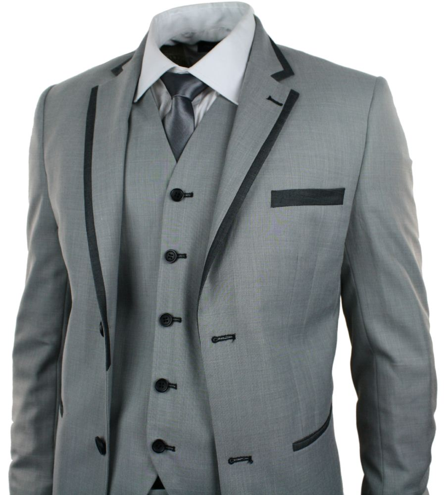 Mens Light Grey 3 Piece Suit Charcoal Trim Prom Wedding Waistcoat ...