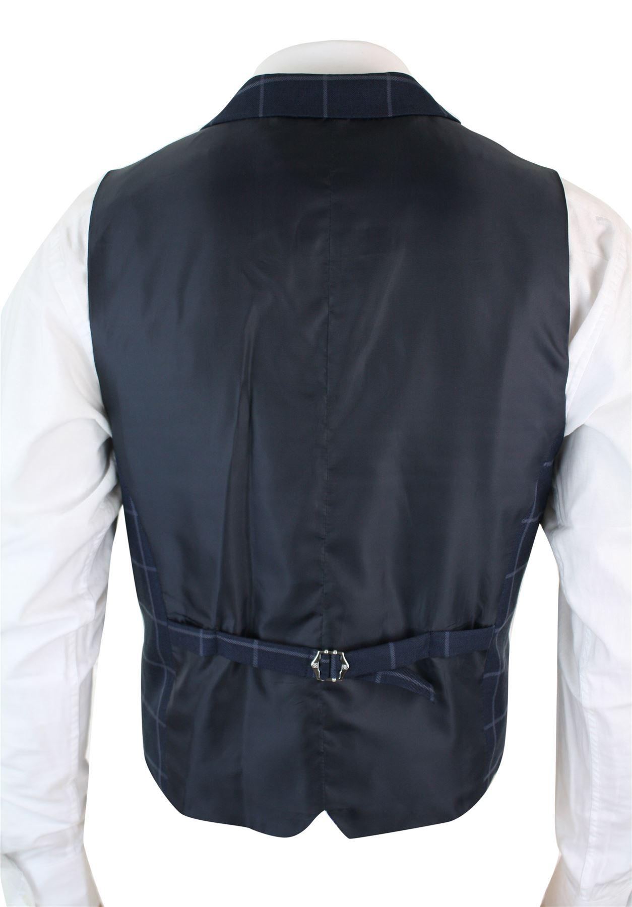 Mens-Double-Breasted-Herringbone-Tweed-Peaky-Blinders-Vintage-Check-Waistcoat miniatuur 9