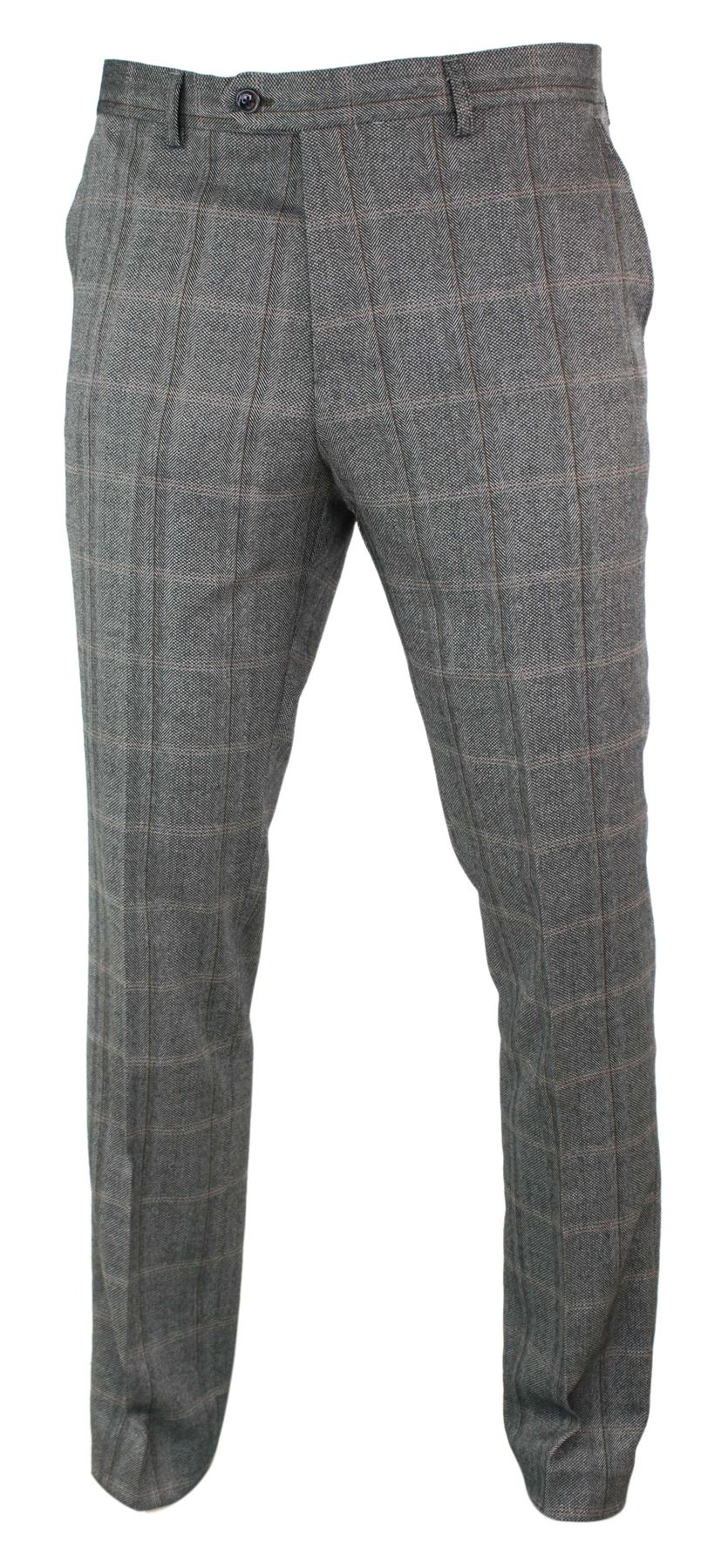 Mens-Herringbone-Tweed-Check-Peaky-Blinders-Trousers-Wool-Vintage-Classic-Retro thumbnail 12