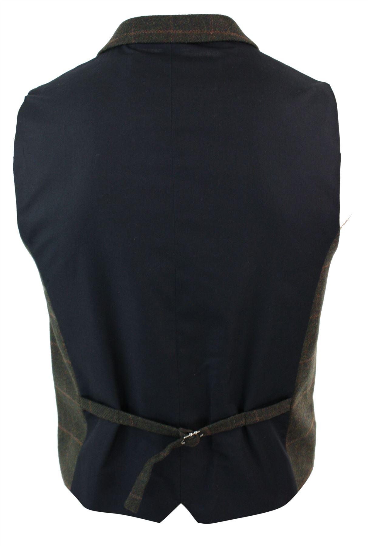 Mens-Double-Breasted-Herringbone-Tweed-Peaky-Blinders-Vintage-Check-Waistcoat miniatuur 19