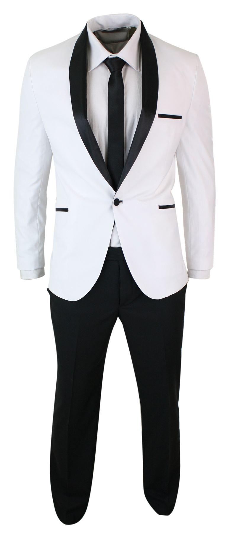Smoking homme blanc noir col châle costume habillé coupe ajustée ... d0c197bb7d9
