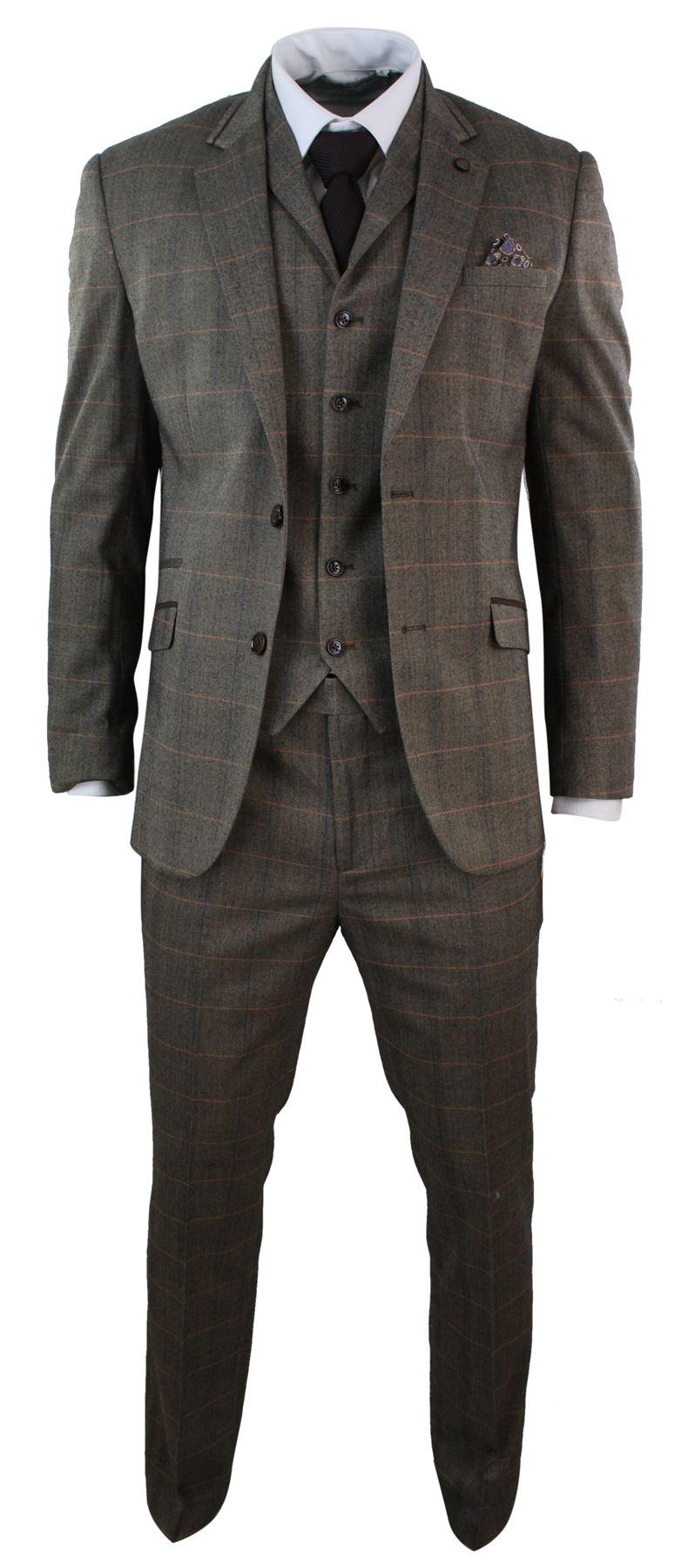 Costume-homme-3-pieces-tweed-a-carreaux-marron-coupe-cintree-vintage-empiecement
