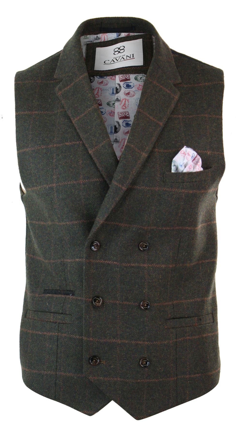 Mens-Double-Breasted-Herringbone-Tweed-Peaky-Blinders-Vintage-Check-Waistcoat miniatuur 17