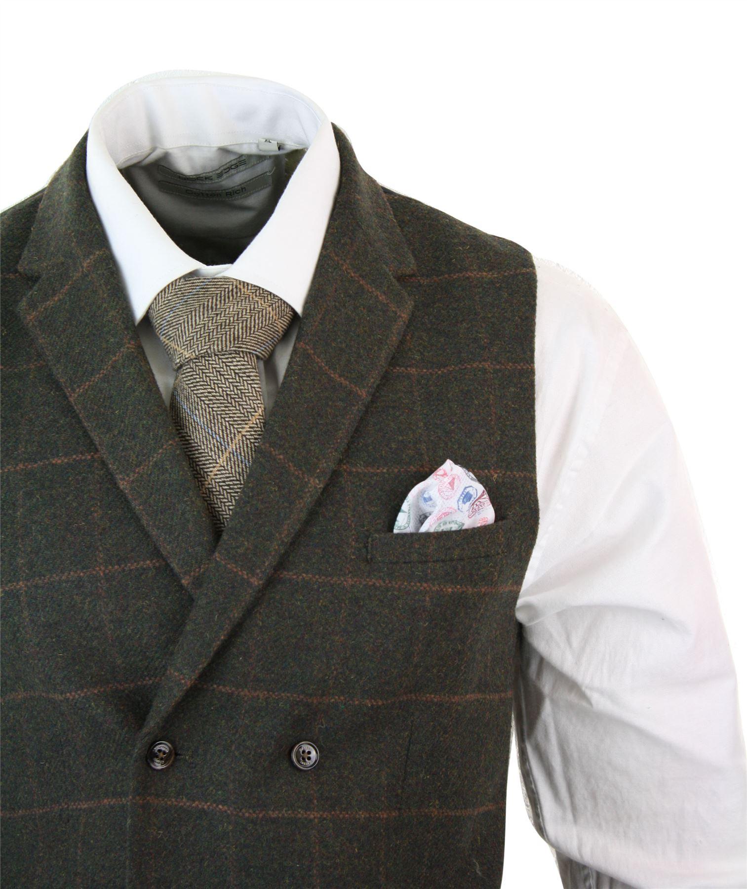 Mens-Double-Breasted-Herringbone-Tweed-Peaky-Blinders-Vintage-Check-Waistcoat miniatuur 18