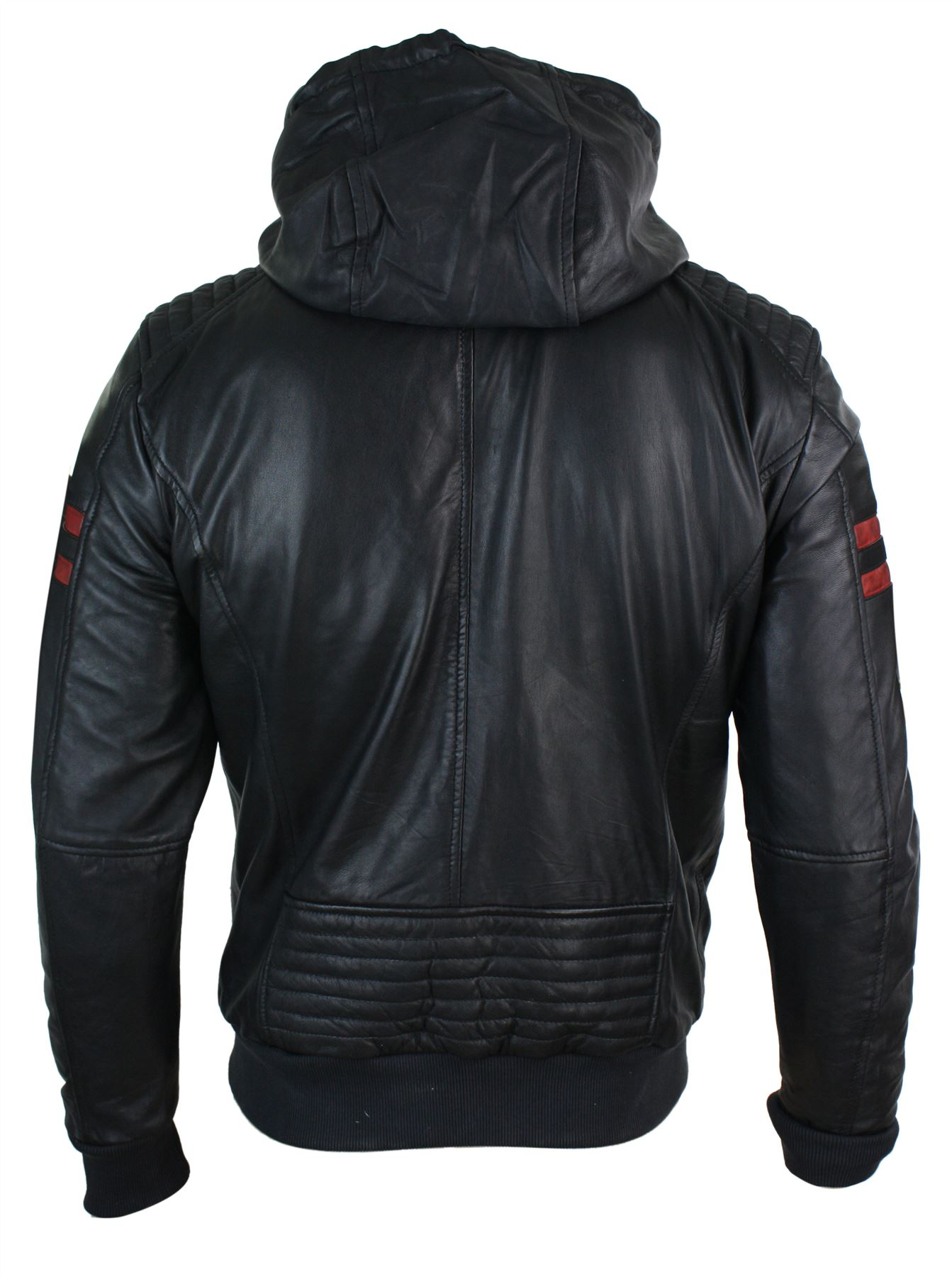 Mens-Black-Hood-Real-Leather-Bomber-Jacket-Red-Stripes-Quilted-Slim-Fit-Casual miniature 7