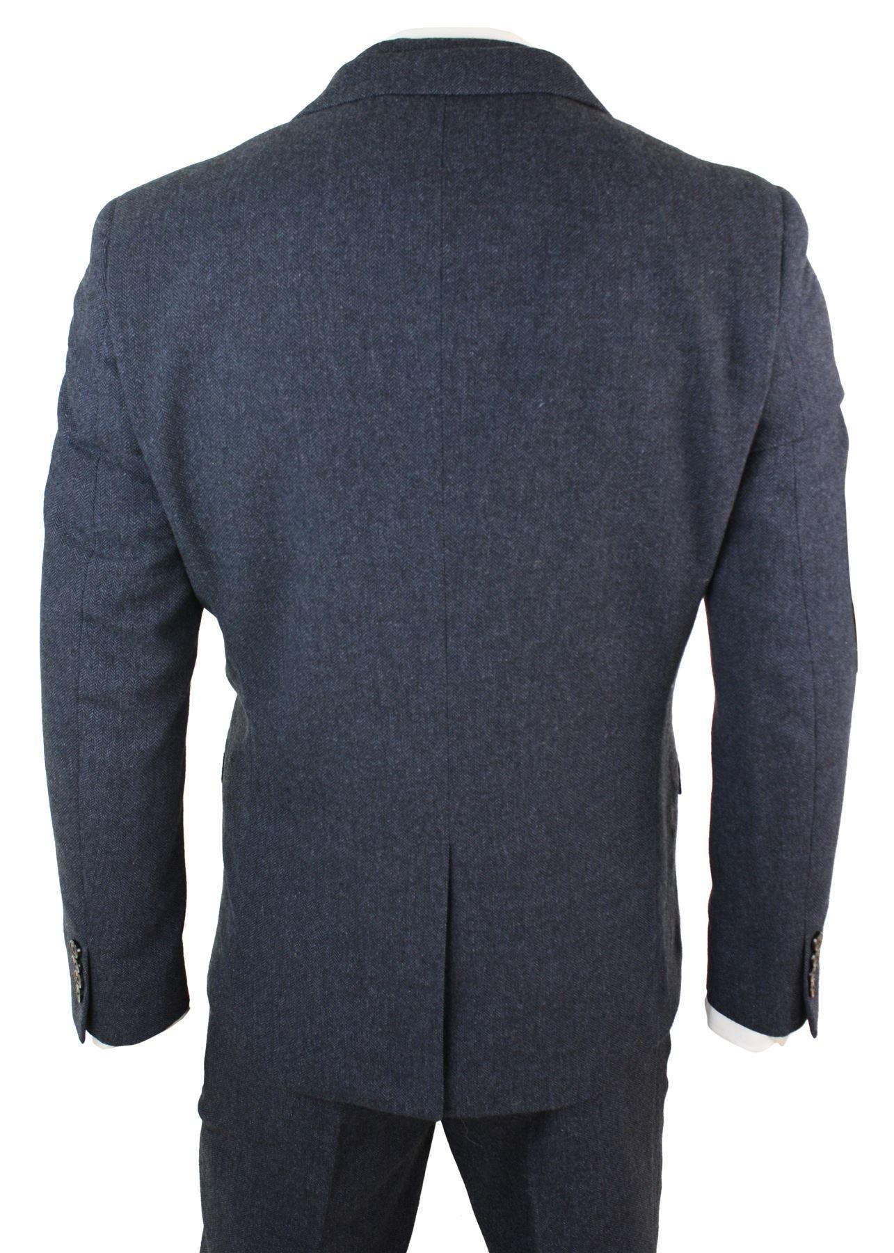 Costume 3 pièces homme tweed à chevrons laine mélangée bleu marron ... cc4439ca6e0