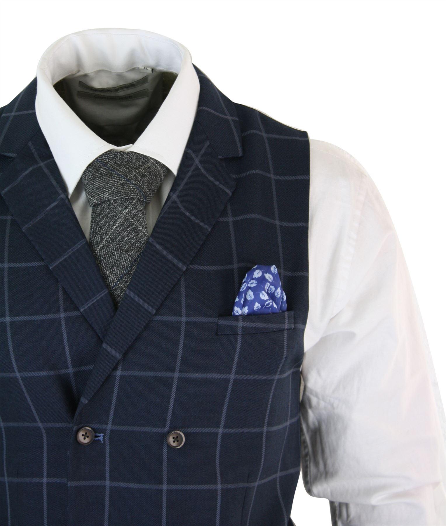Mens-Double-Breasted-Herringbone-Tweed-Peaky-Blinders-Vintage-Check-Waistcoat miniatuur 8