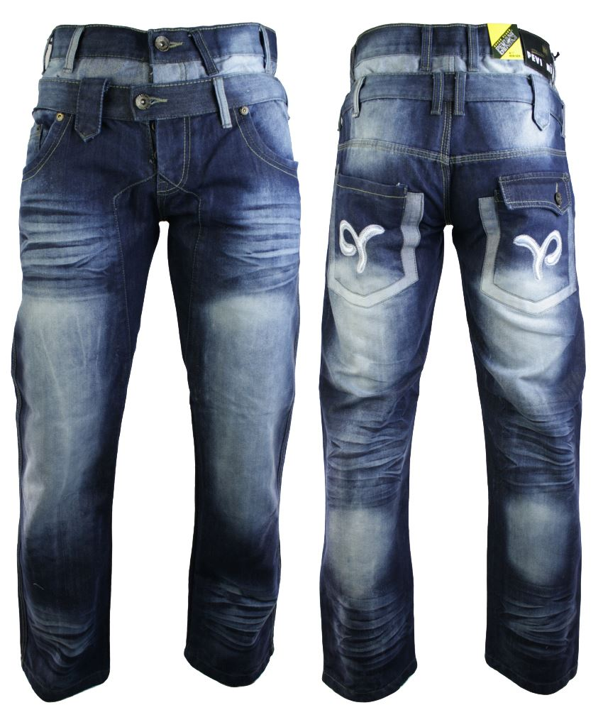Mens Blue Washed Black Designer Double Waist Straight Cut Slim Jeans Regular