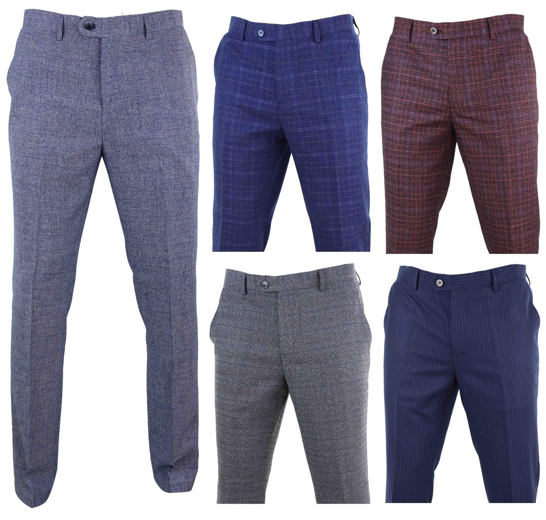 a9a7f2e13f Dettagli su Pantaloni Vintage Da Uomo In Lana Fatti Su Misura Lunghezza  Regular