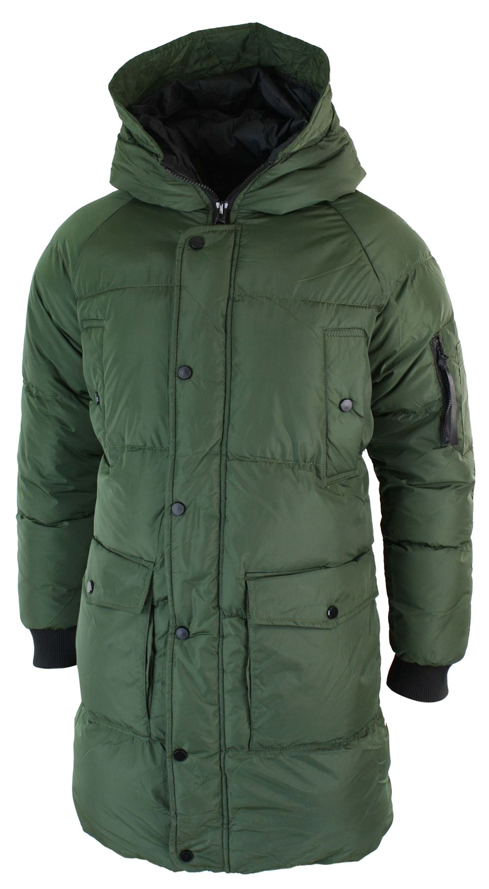 Mens Puffer Quilted Long 3 4 Hood Jacket Over Coat Casual