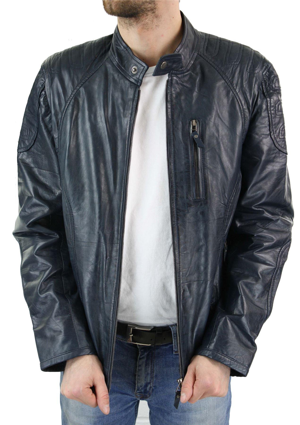 b944e0759e8 Veste homme style biker cuir véritable bleu noir fermeture éclair ...