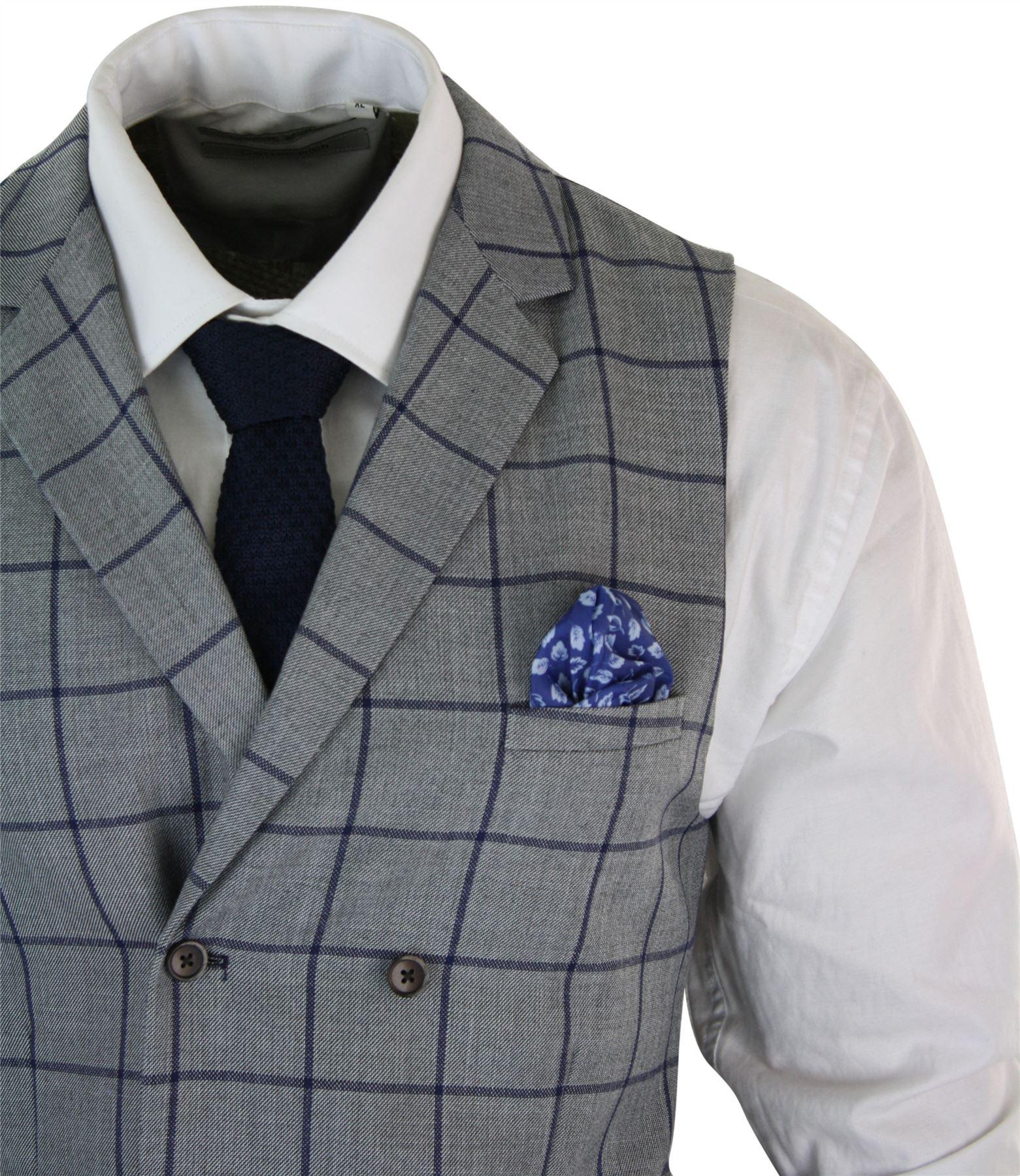 Mens-Double-Breasted-Herringbone-Tweed-Peaky-Blinders-Vintage-Check-Waistcoat miniatuur 4