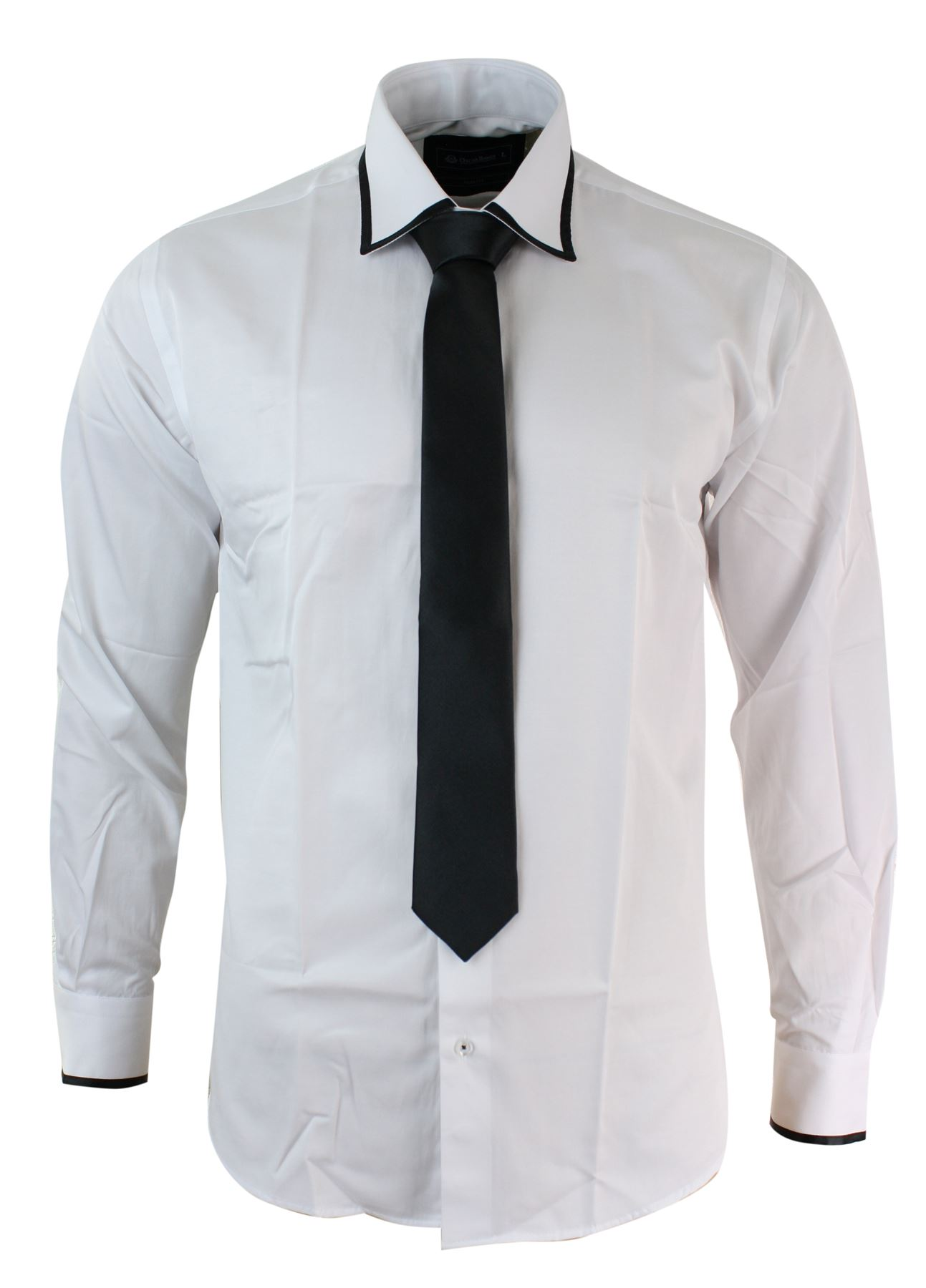 Mens slim fit white black brown navy red shirt tie satin for Black brown mens shirts